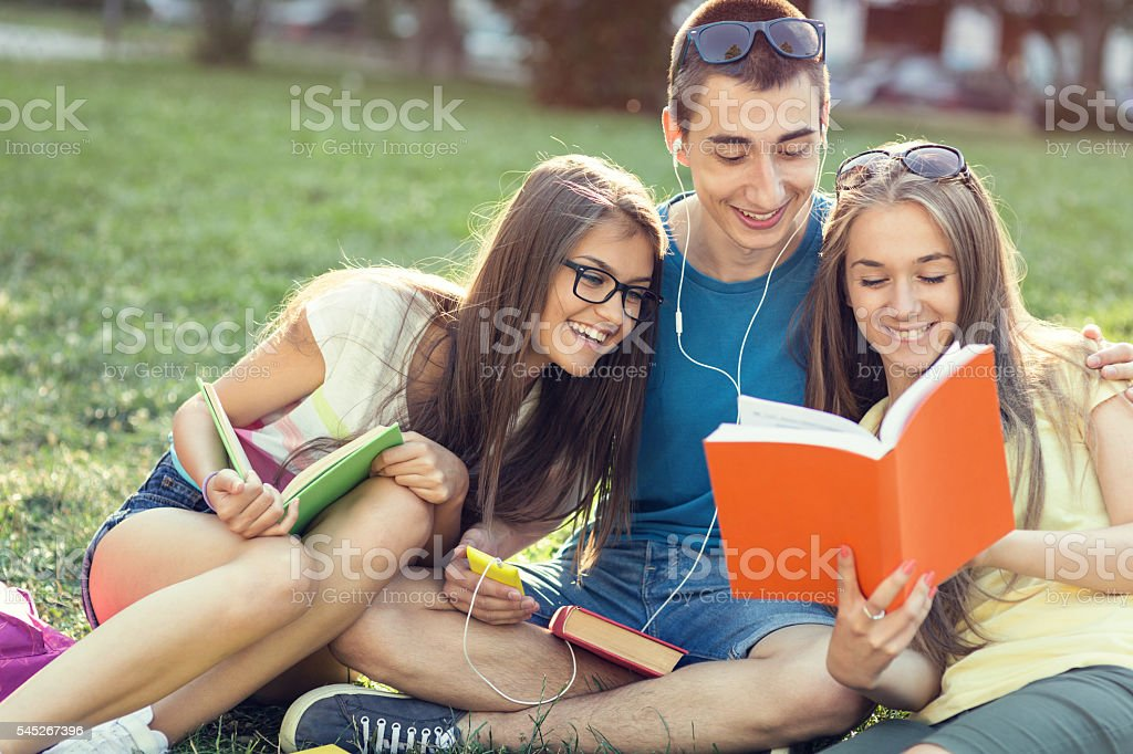 Students studying in the campus stock photo