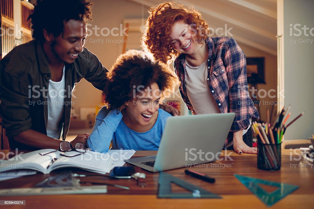 Students studying together stock photo