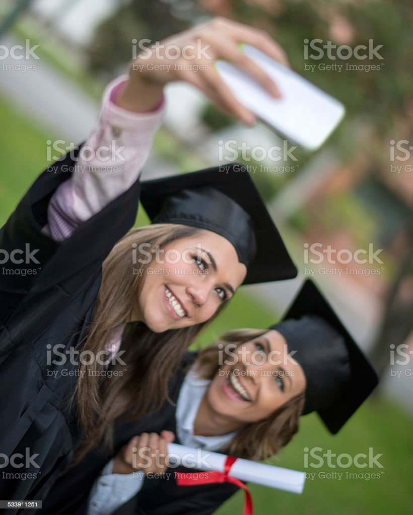 Students taking a selfie stock photo