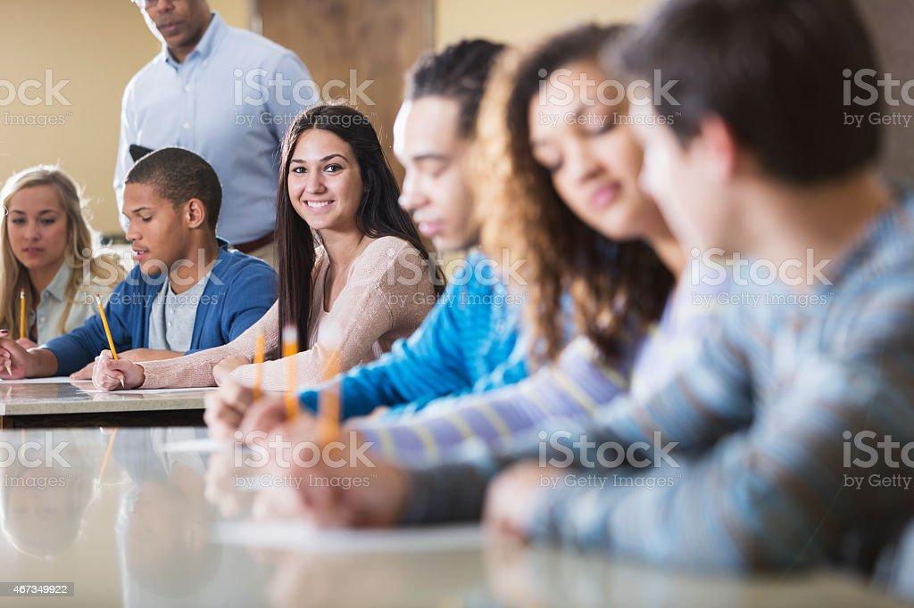 Students taking exam stock photo