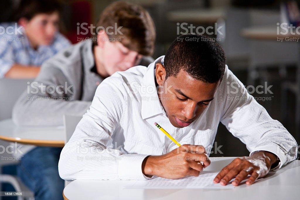 Students taking standardized test stock photo