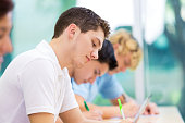 Students taking test in private high school