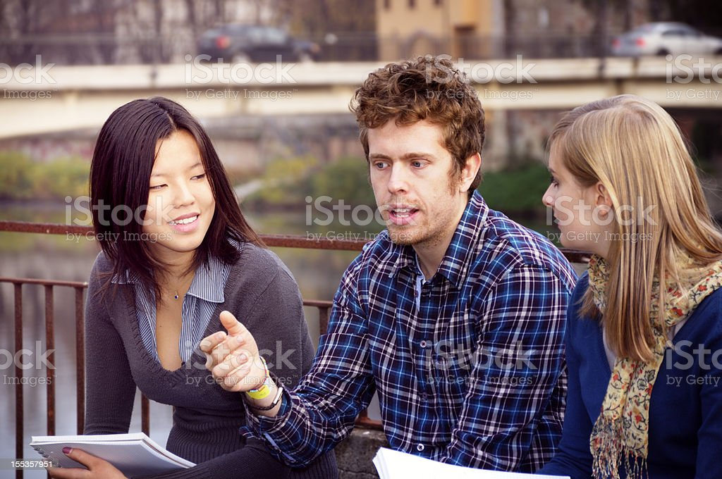Students Talking Outdoor royalty-free stock photo