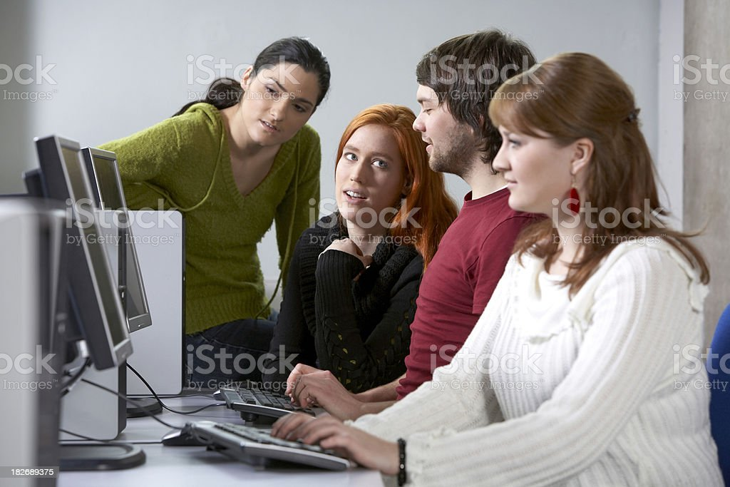 Students teamwork in computer lab royalty-free stock photo