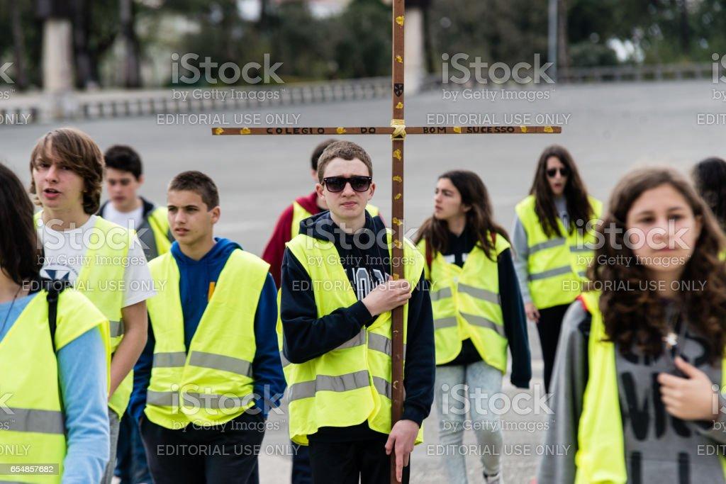 Students, The Sanctuary of Fátima, Portugal stock photo