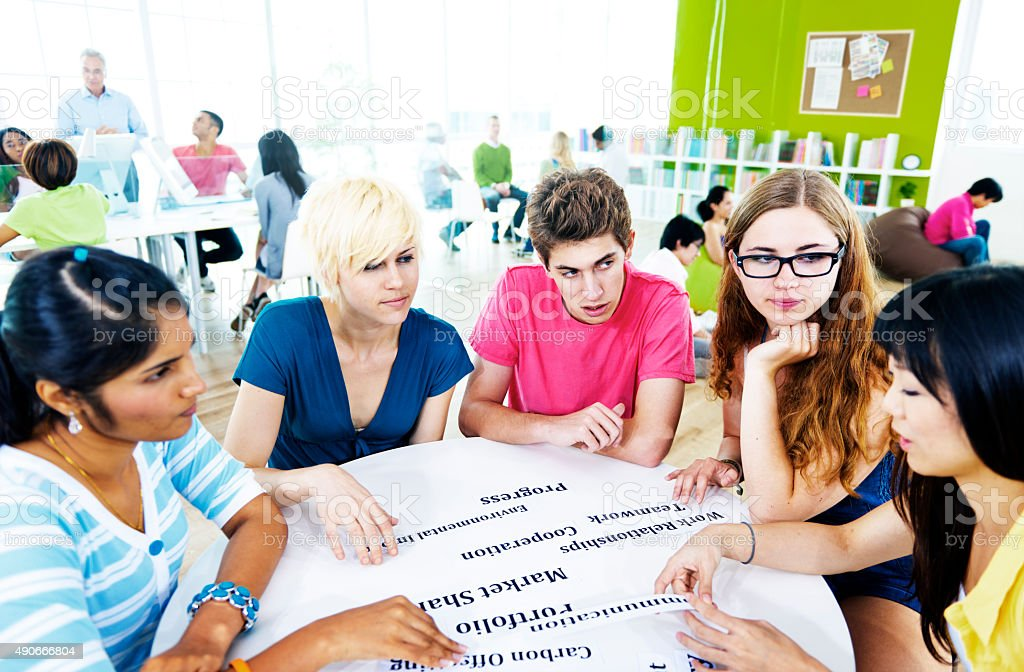 Students University Studying Project Communication Concept stock photo