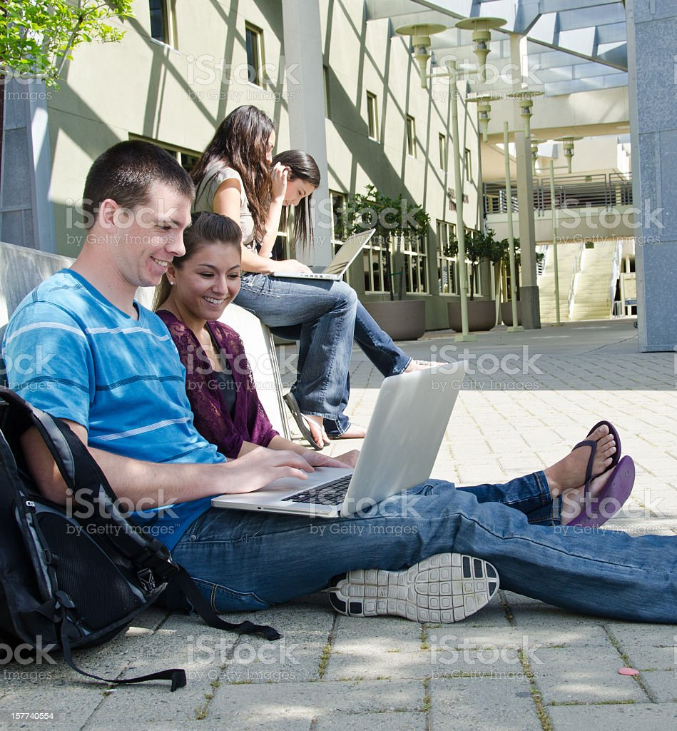 Students Using Computers On Campus royalty-free stock photo