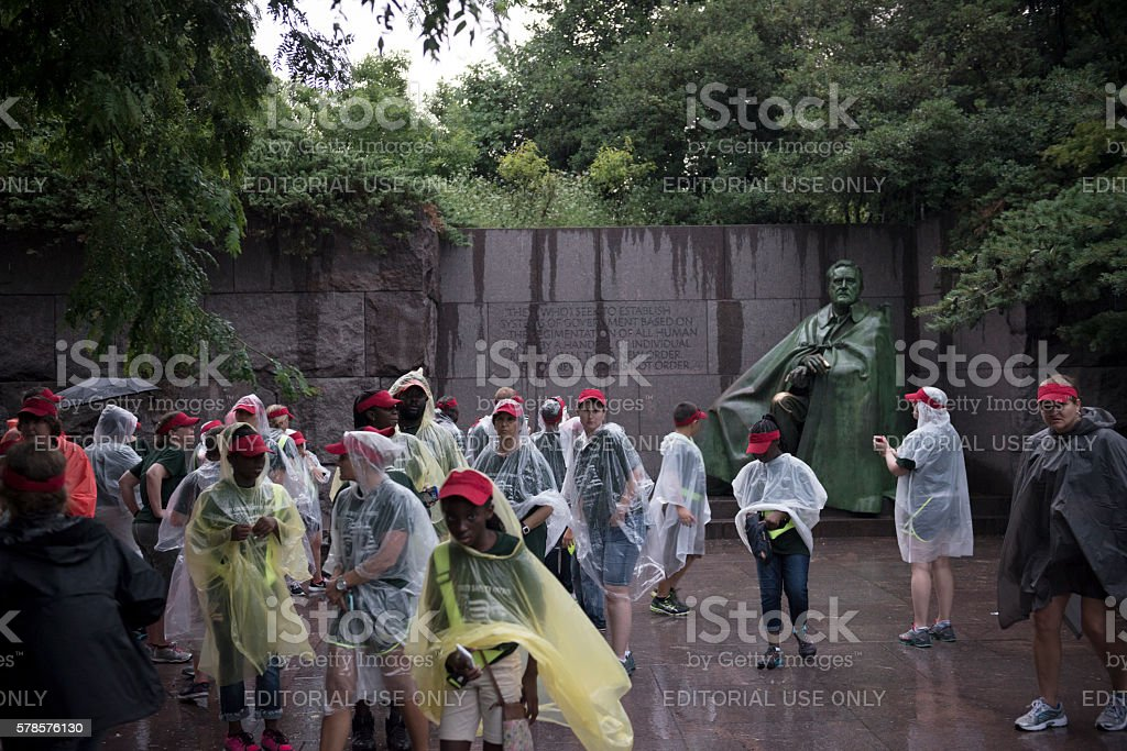 Students visiting Franklin Delano Roosevelt Memorial in Washington DC stock photo
