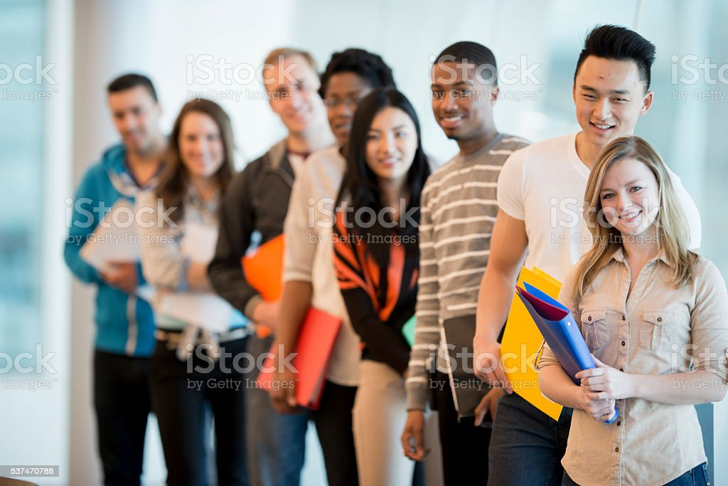 Students Waiting for Class to Start stock photo
