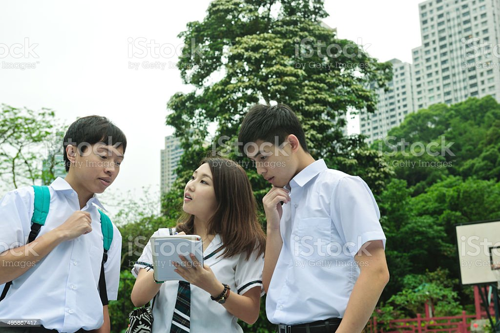 Students Walking in Hong Kong stock photo