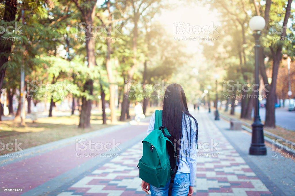 Students Walking Outdoors On University Campus stock photo