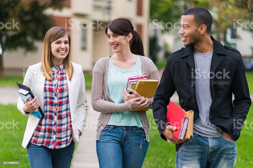 Students Walking To The College stock photo