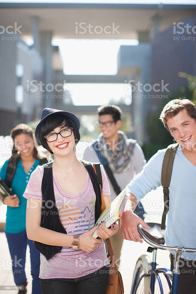 Students walking together outdoors royalty-free stock photo