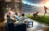 Students watching very realistic American football game at home