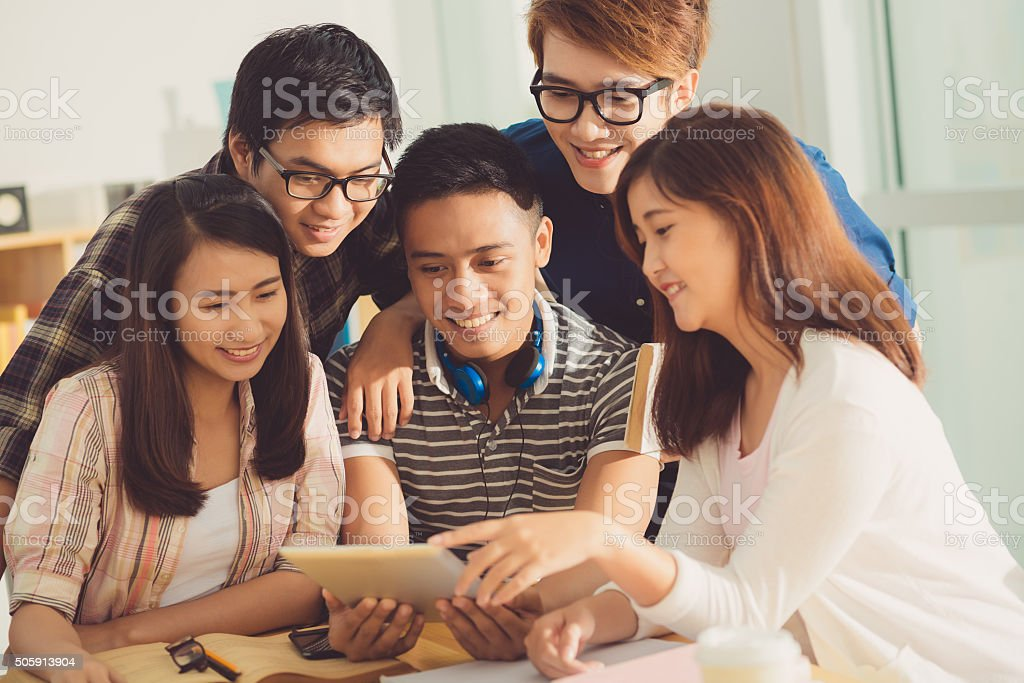 Students watching video stock photo