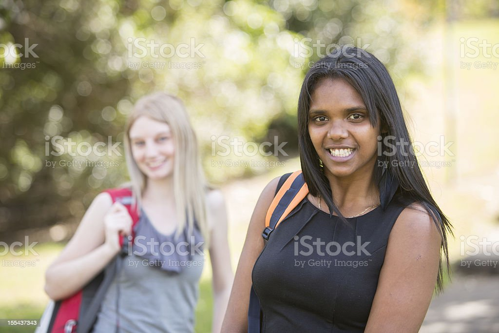 Students With Backpacks stock photo