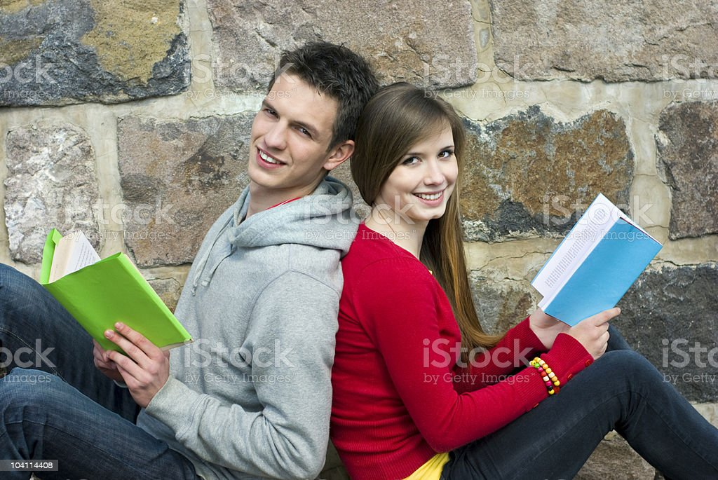 Students with book royalty-free stock photo