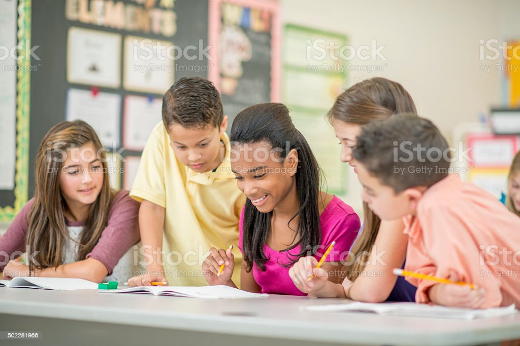 Students Working on an Assignment as a Group stock photo