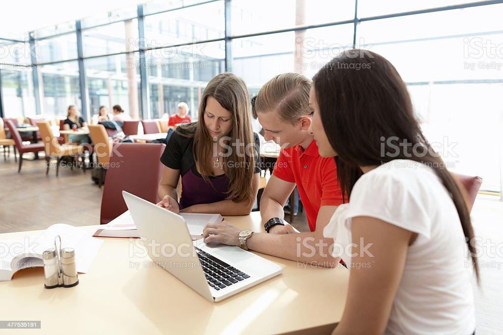 students working on laptop in restaurant royalty-free stock photo