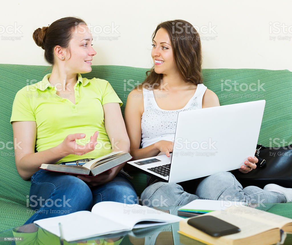 Students working on laptop stock photo