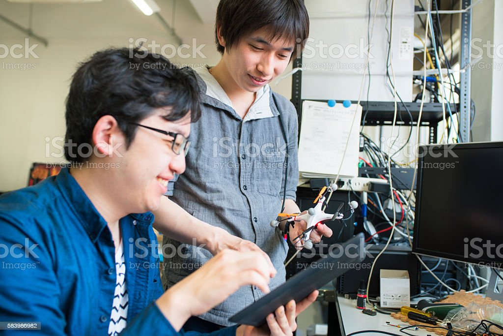 Students working on their drone design stock photo