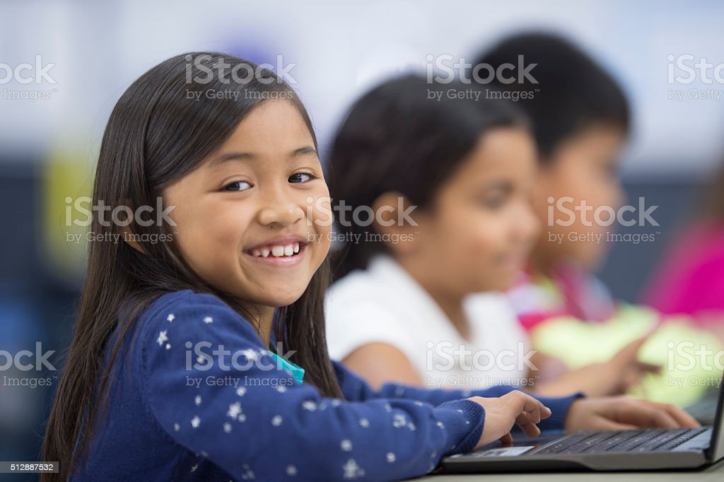 Students Working on Their Typing Skills stock photo