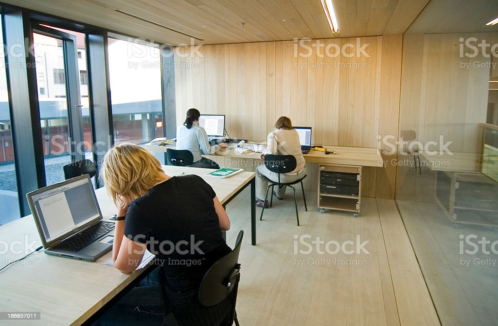 students working stock photo