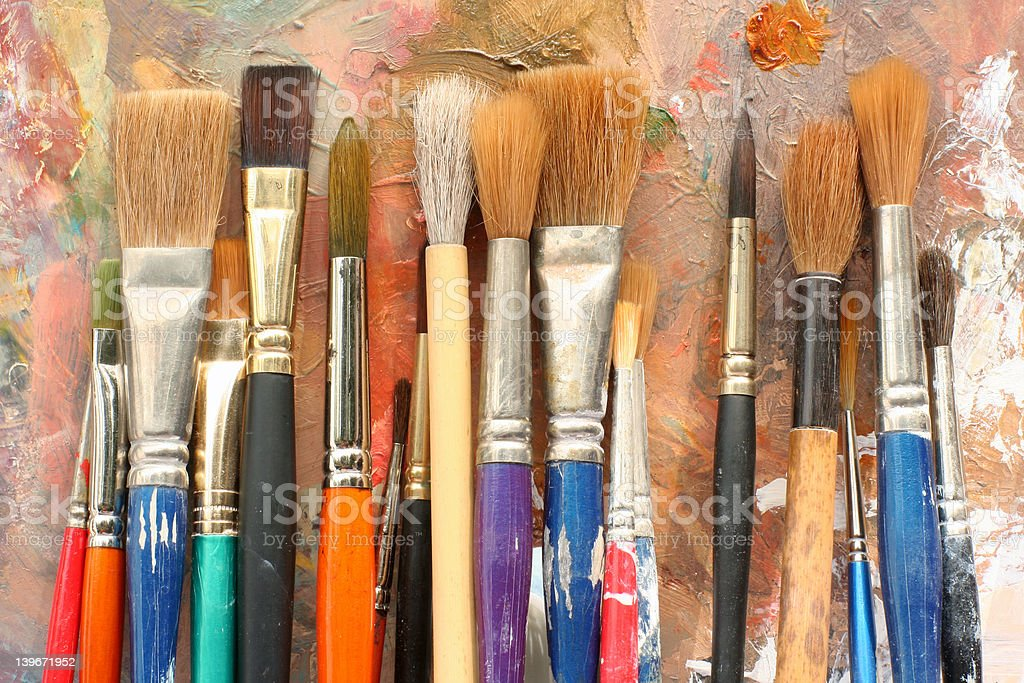 studio Art palette and brushes 04 stock photo