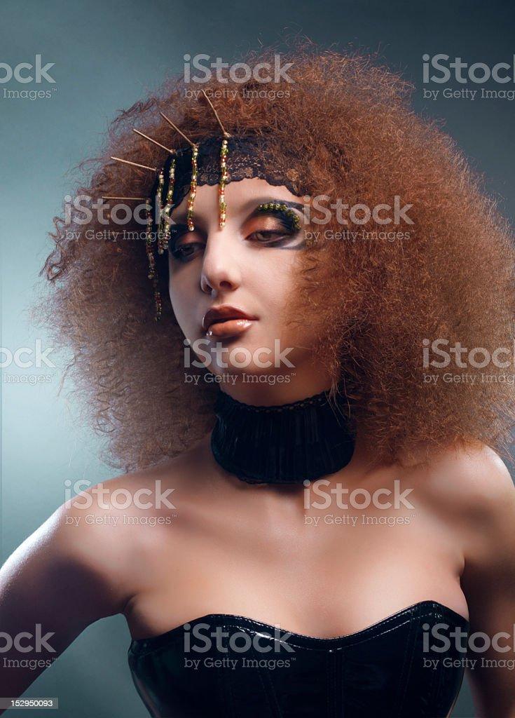 Studio beauty portrait of creative girl royalty-free stock photo