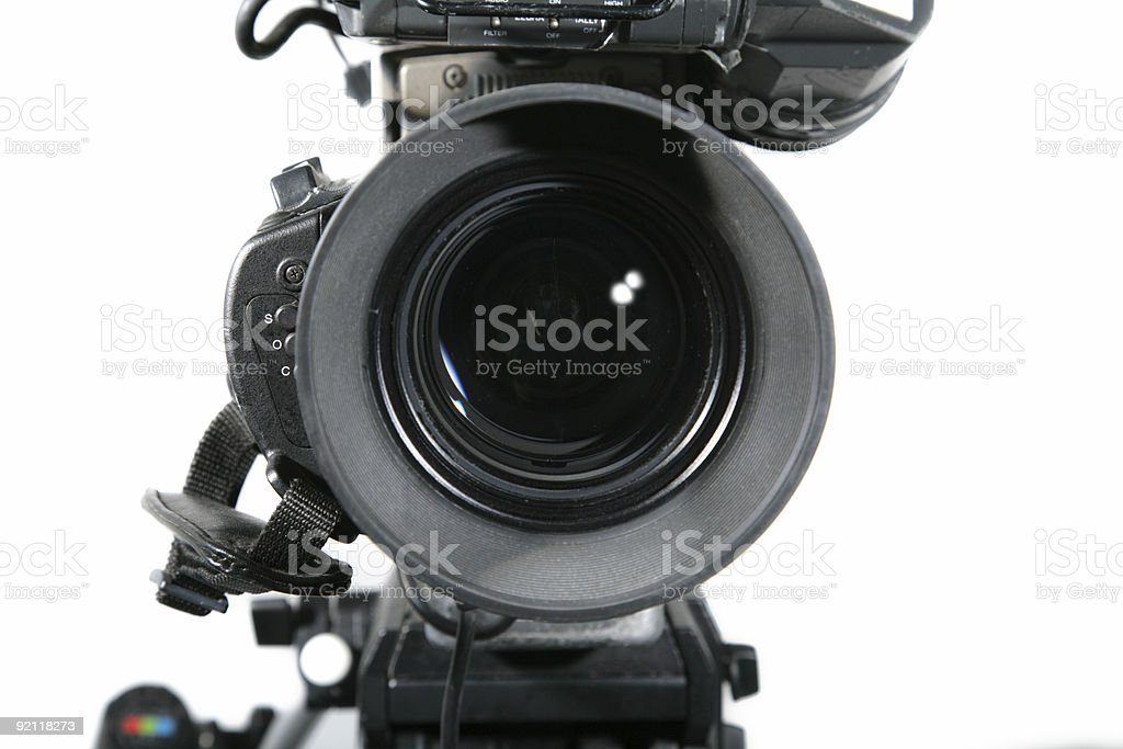 TV Studio Camera Lens Close Up stock photo