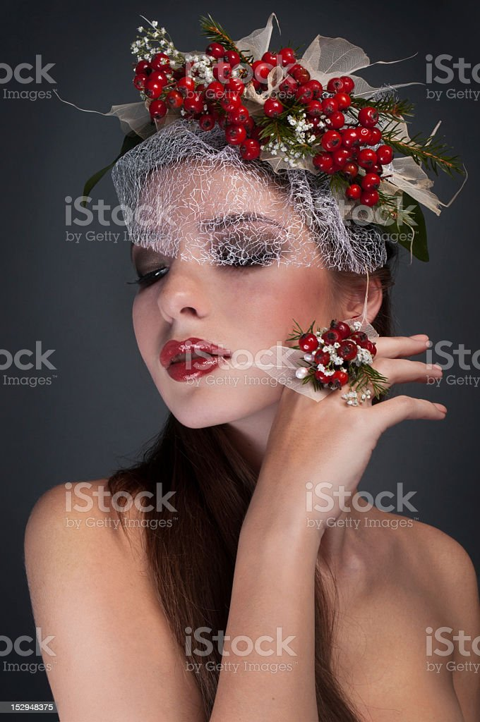 Studio conceptual female beauty portrait with rowan royalty-free stock photo
