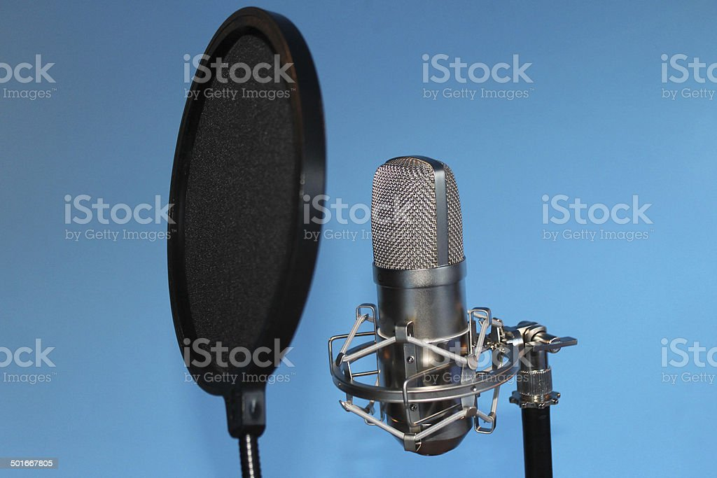 Studio Condenser Microphone with Pop Shield stock photo