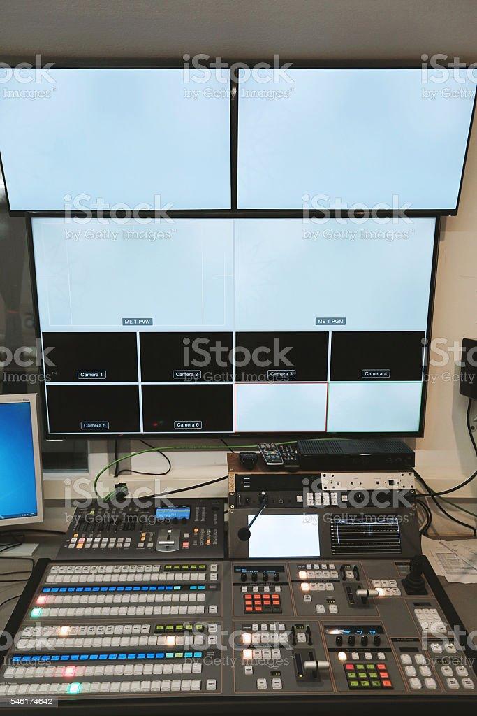 TV studio control center stock photo