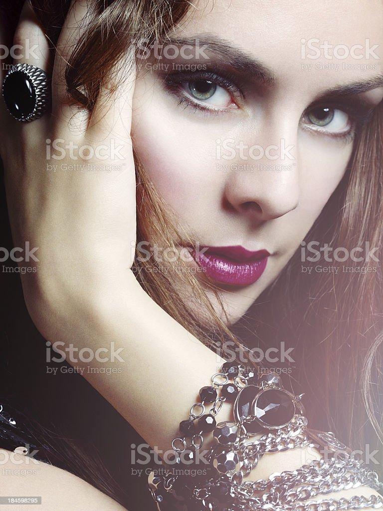 Studio fashion portrait of glamour woman with jewelry royalty-free stock photo