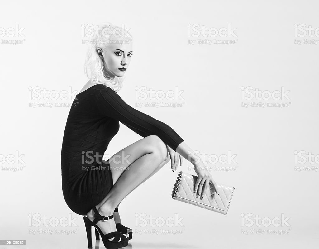 Studio fashion shot: beautiful girl in black dress, with clutch stock photo
