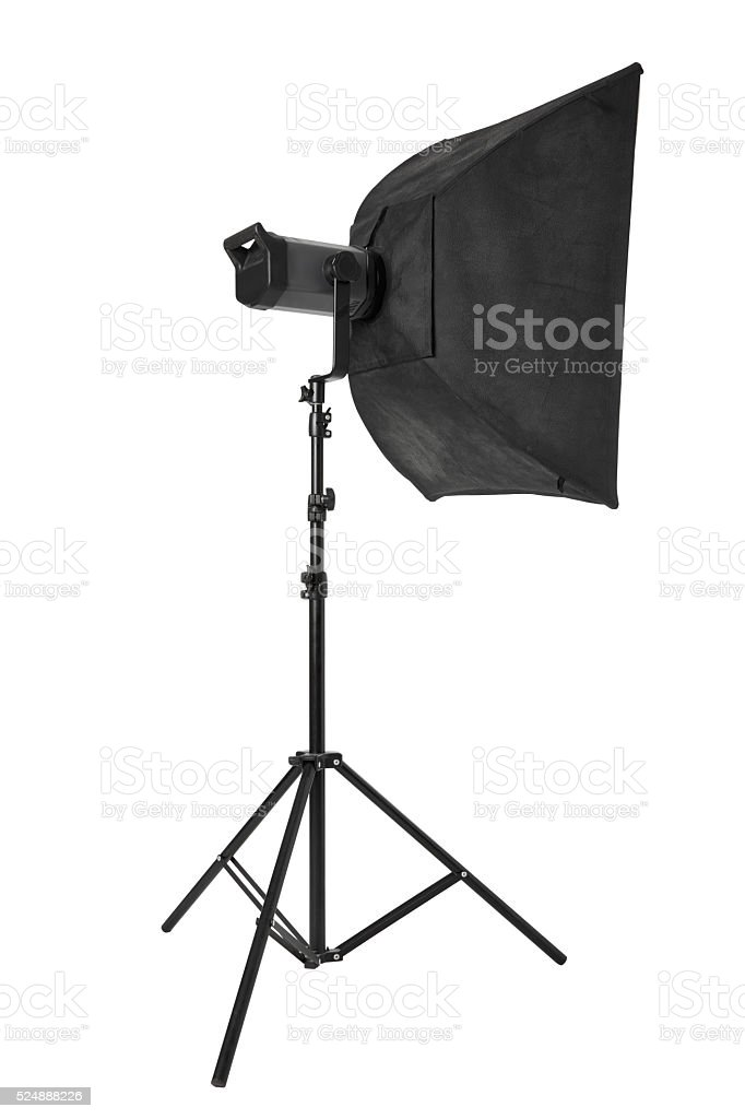 Studio flash with softbox and stand on white stock photo