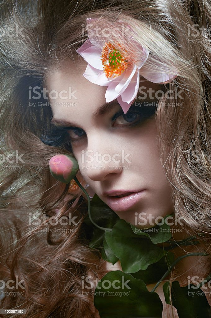 Studio floral beauty portrait royalty-free stock photo