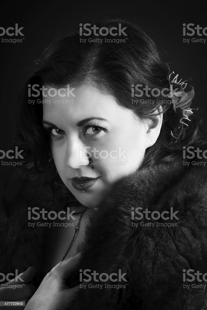 B&W studio glamour portrait with fur. royalty-free stock photo
