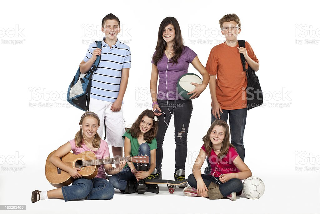 Studio group shot of six kids on a white background royalty-free stock photo