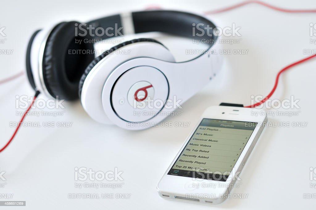 Studio headphones and iphone stock photo