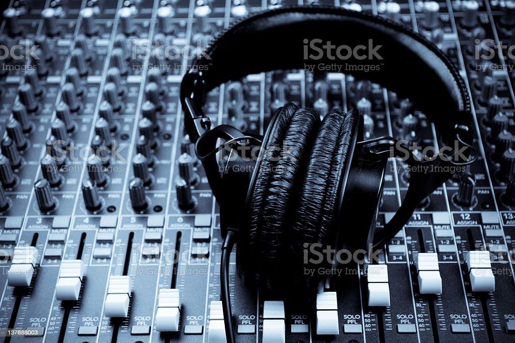 Studio Headphones and Mixing Board stock photo