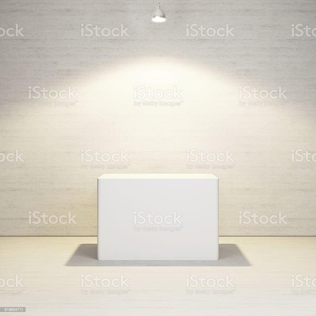 studio interior with white podium stock photo