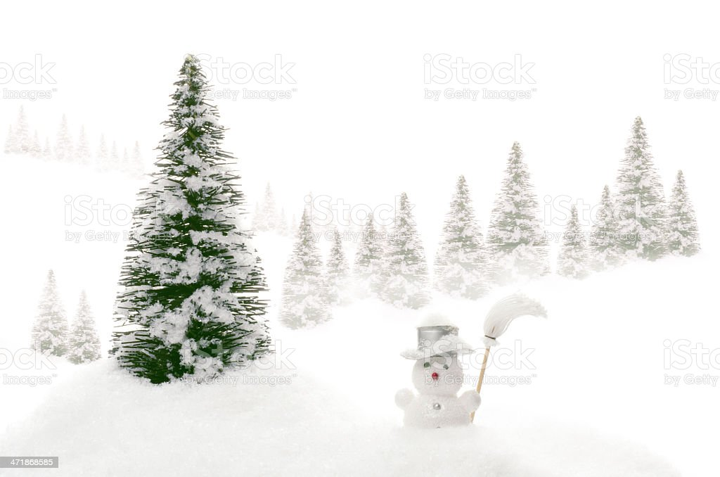 Studio landscape of winter with snowman royalty-free stock photo