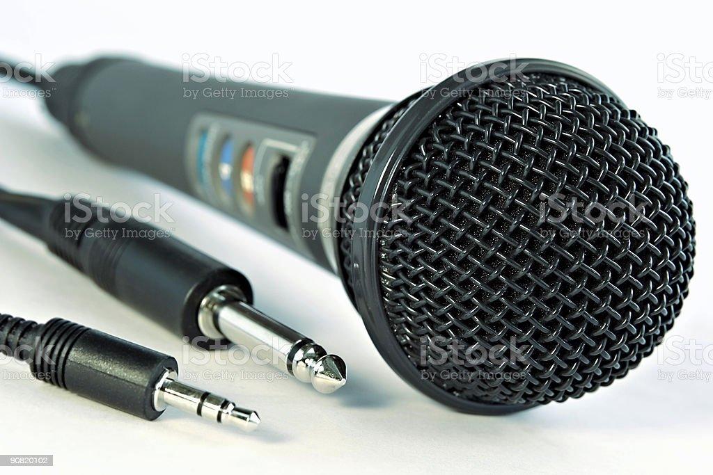 Studio microphone and jacks royalty-free stock photo
