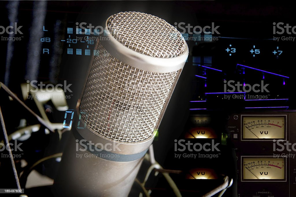 Studio Microphone and recording gear royalty-free stock photo