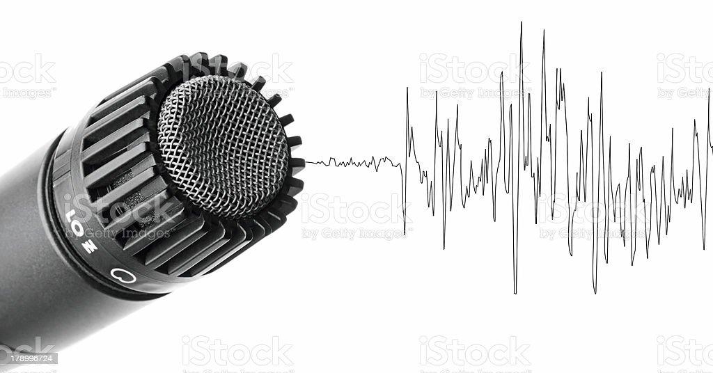 Studio microphone and waveform royalty-free stock photo
