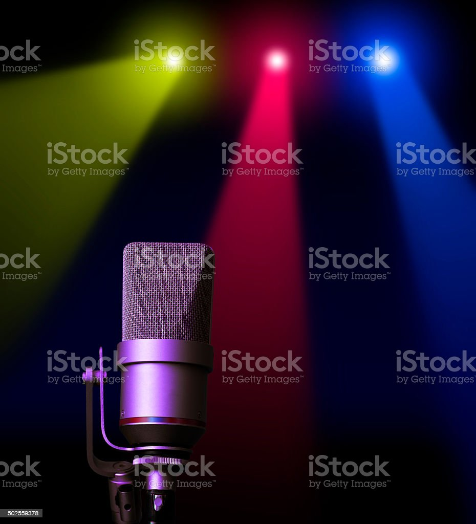 studio microphone on stage stock photo