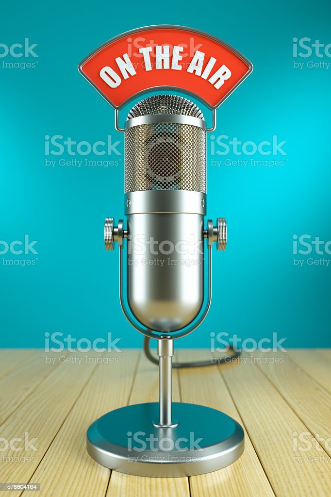 Studio microphone stand. On the AIR stock photo