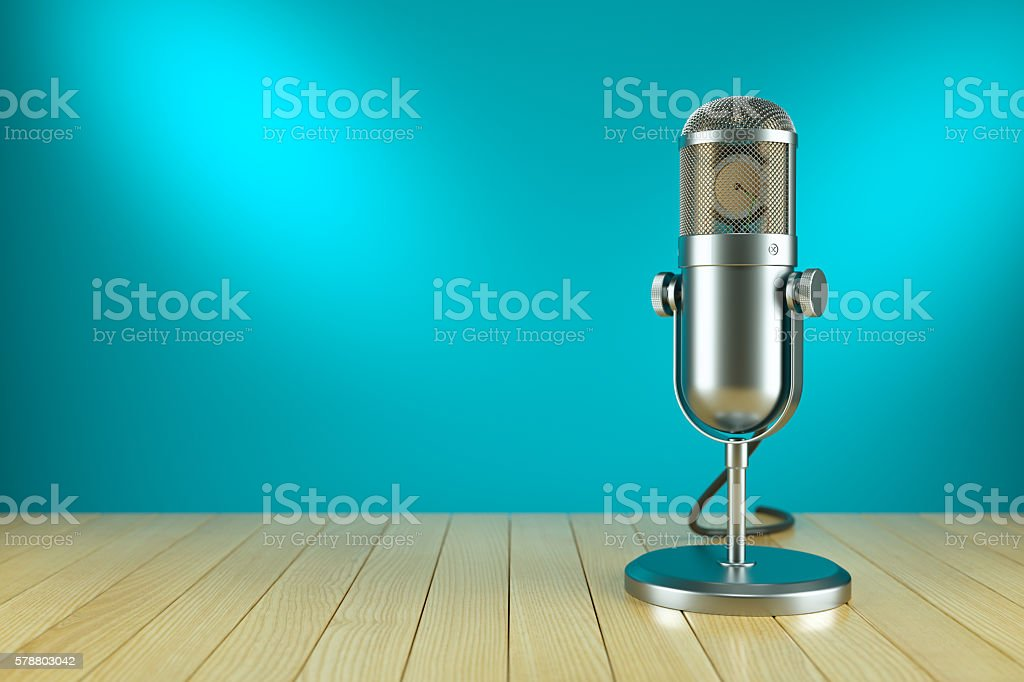Studio microphone stand. On the AIR radio stock photo