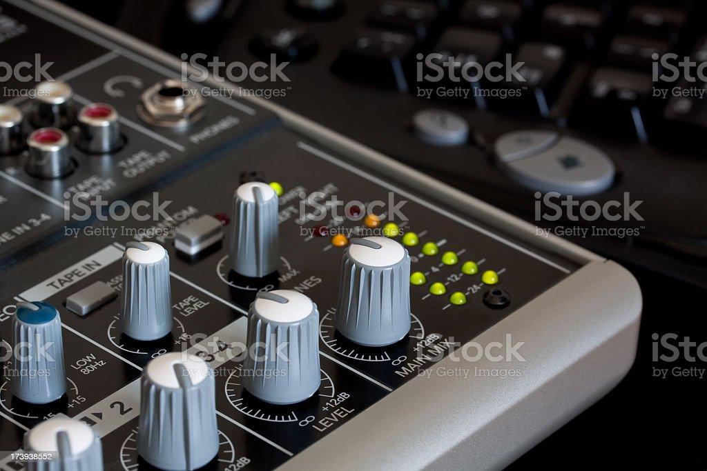 Studio Mixer and Computer Keyboard stock photo